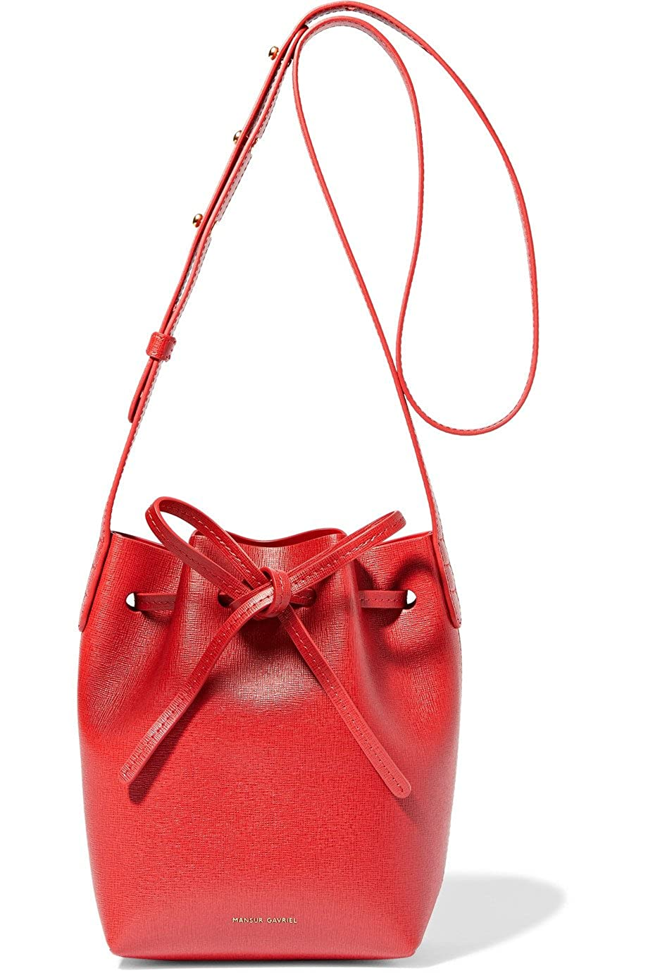 (マンサーガブリエル) Mansur Gavriel Women`s Mini Mini leather bucket bag Red leather Calf レディースミニレザーバケットバッグレッドレザーカーフ(並行輸入品) B07CR2ZM3R Red textured-leather (Calf) One Size