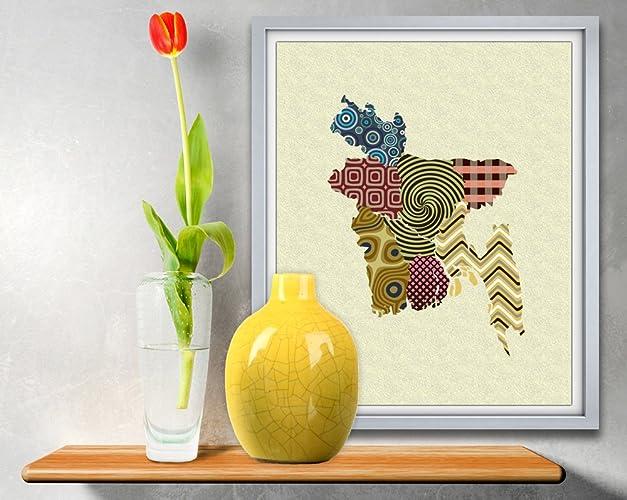 Amazon.com: Bangladesh wall Art Map Geometric Decor Pop Art Cubism ...