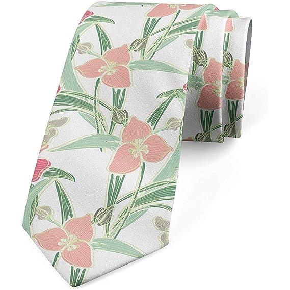 Corbata, hojas de flores de lirio de tono suave, rosa coral verde ...