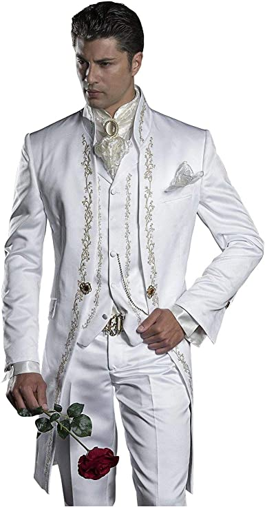 Mens Embroidery White Mandarin Lapel Tail Tuxedos Wedding Prom Best Man Blazer 3 Pieces Men Suits At Amazon Men S Clothing Store,Outdoor Wedding Petite Wedding Guest Dresses