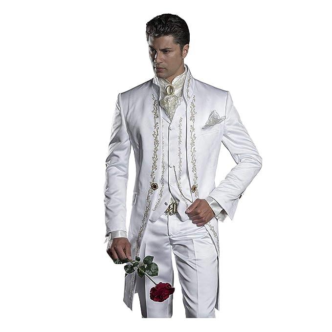 Amazon.com: Traje de hombre con bordado de mandarina blanca ...