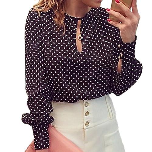Scothen Casual de las señoras manga larga blusa de verano polca camisa del punto tops con cuello en ...