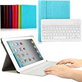 CoastaCloud iPad 2/3/4 Really Thin SmartShell Stand Cover with Magnetically Detachable Wireless Bluetooth Keyboard Case for Apple iPad 2 3 4 (Sky Blue)