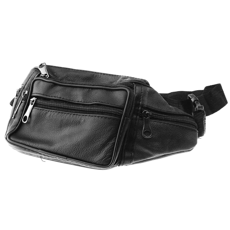 D2D Sac de Taille en Cuir Hommes Femmes Ceinture de Voyage Sacs Bourse Hip Pouch 7 Zipper Pocket Sport Bag