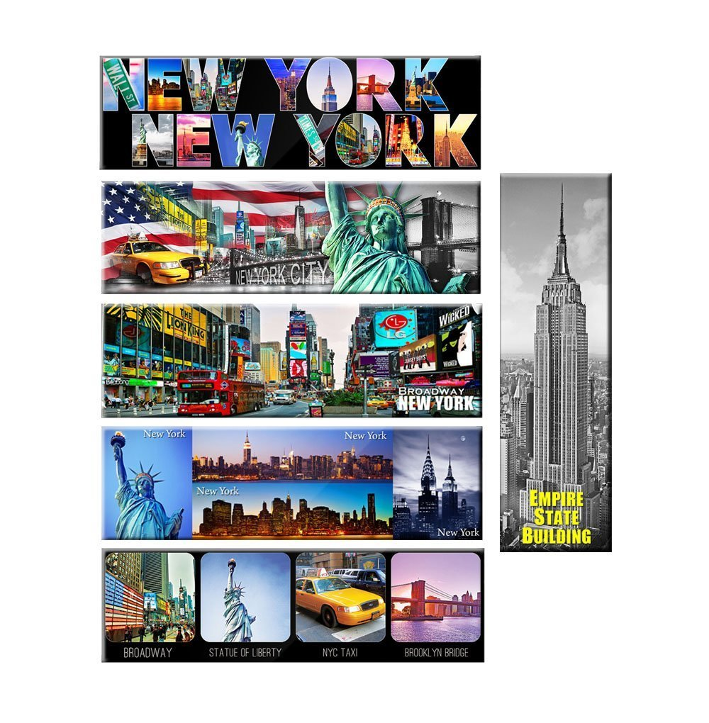 Pack of 6 New York Panoramic Photo Magnets NYC Souvenir Gift Set 5x1.6 Inches