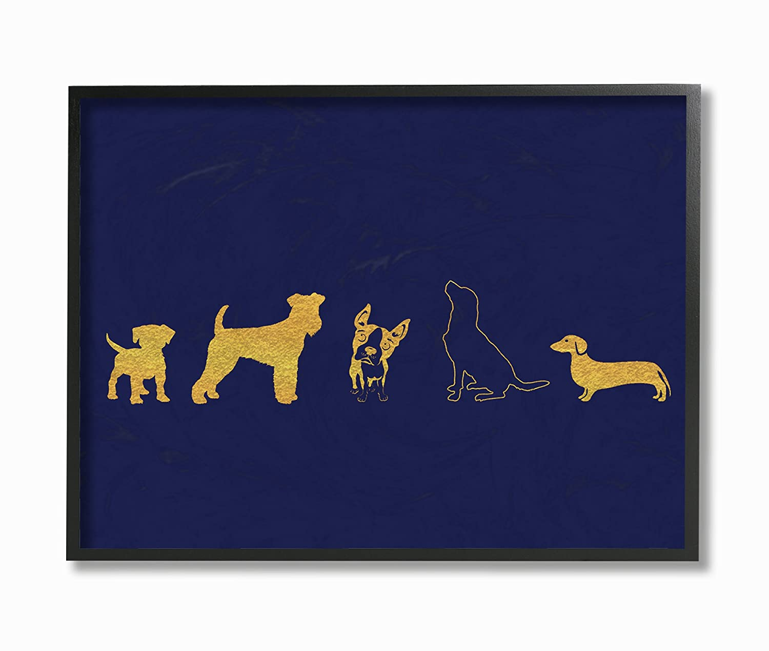 Stupell Home D/écor Gold Dog Silhouette Navy Oversized Framed Giclee Texturized Art 16 x 1.5 x 20 Proudly Made in USA