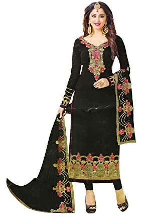 701bb89c87 AZAD DYEING Women's Unstitched Salwar Suits Salwar Suit Heavy Georgette  Embroidered Material Set (Black)
