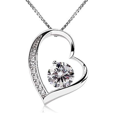 Amazon schmuck  B.Catcher Herz Halskette kette Necklace Anhänger 925 Silber damen ...