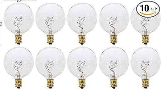 Pack Of 10 G16 5 Decorative E12 Candelabra Base Globe Shape 120v G16 1 2 Light Bulbs Clear 40 Watt Incandescent Bulbs Amazon Com