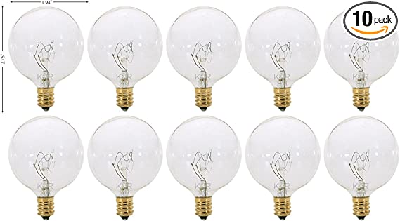 G16.5 Decorative Candelabra Base Globe Shape 120V G16 1//2 Light Bulbs E12 Clear, 25 Watt Pack of 10 KOR