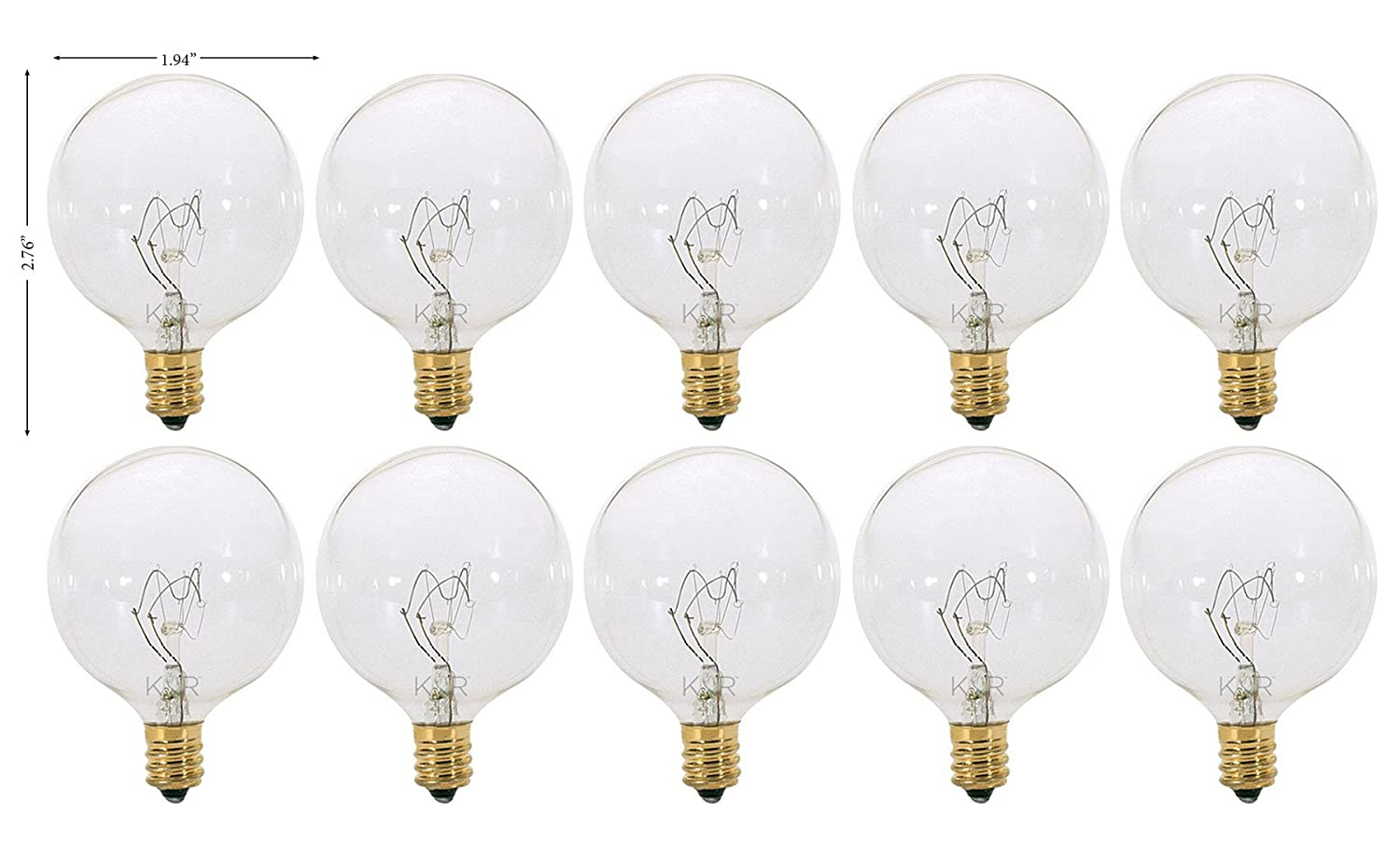 (Pack of 10) G16.5 Decorative (E12) Candelabra Base Globe Shape 120V G16 1/2 Light Bulbs (Clear, 60 Watt)