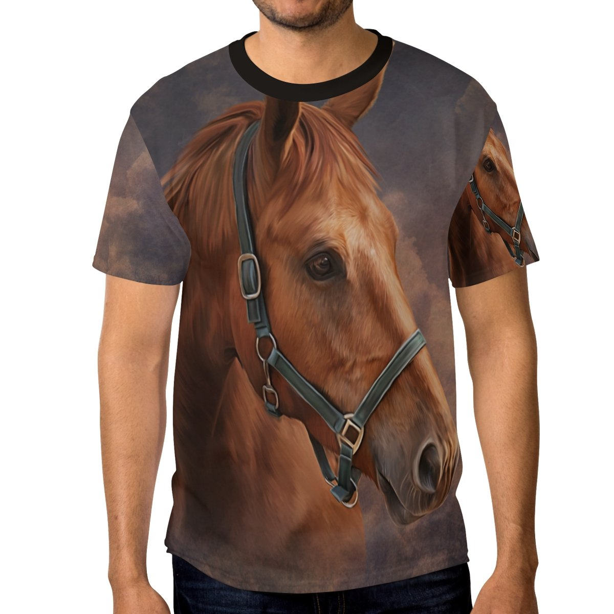 ALAZA Drawing Horse and Cloud Vintage Men's Short Sleeve T Shirt Casual Crew Neck Tee, L