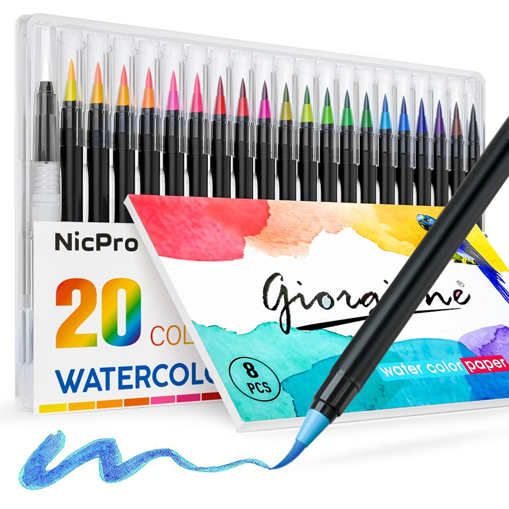 Nicpro Watercolor Brush Pen Set with Soft Flexible Tip , 20 Colors Watercolor Brush Markers Paint & Watercolor Paper Pad, For Painting & Lettering Calligraphy Drawing Manga Coloring Book