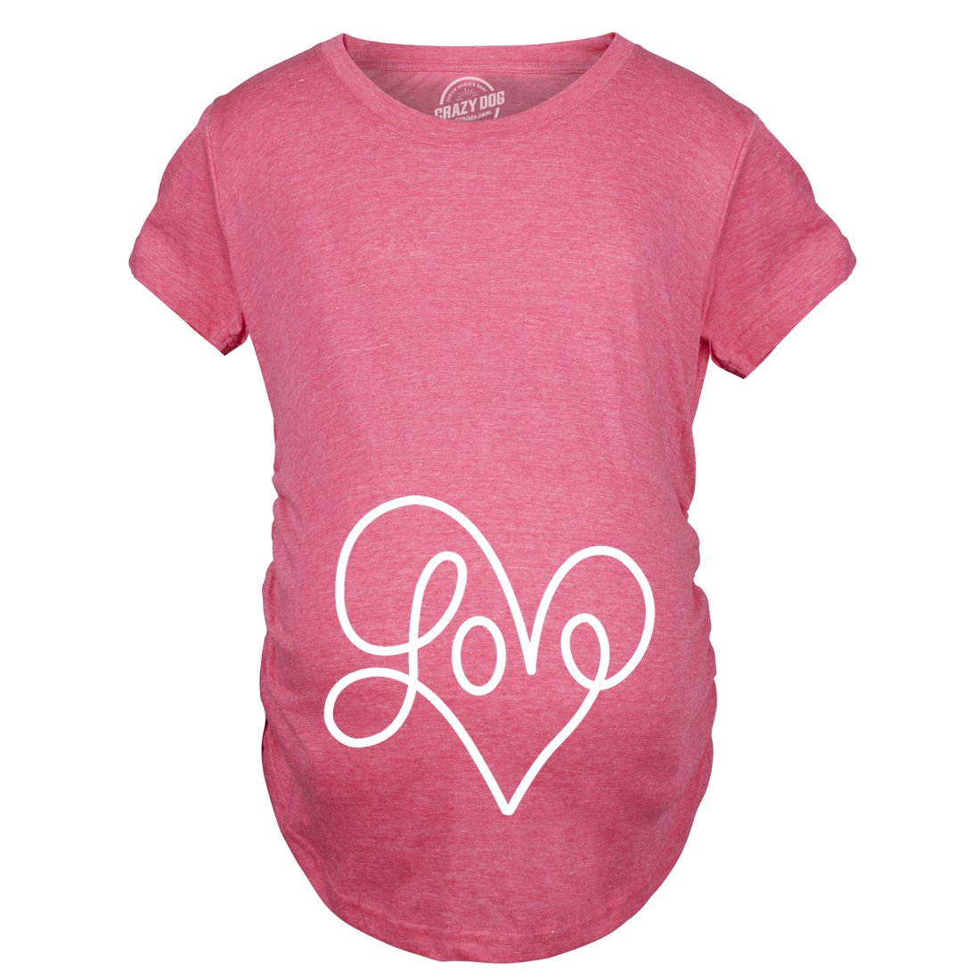 Maternity Love Script Heart Tshirt Cute Adorable Valentines Day Pregnancy Tee -L