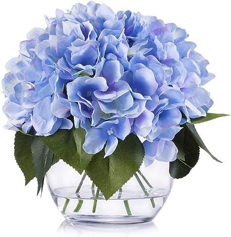peony arrangement alstroemeria centerpiece silk hydrangea Blue flowers