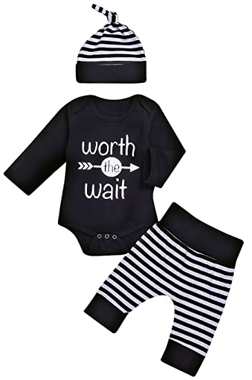58cedd00c4bb Baby Unisex Worth The Wait Arrow Printed Romper Striped Pant Hat Outfit  Clothes (Black