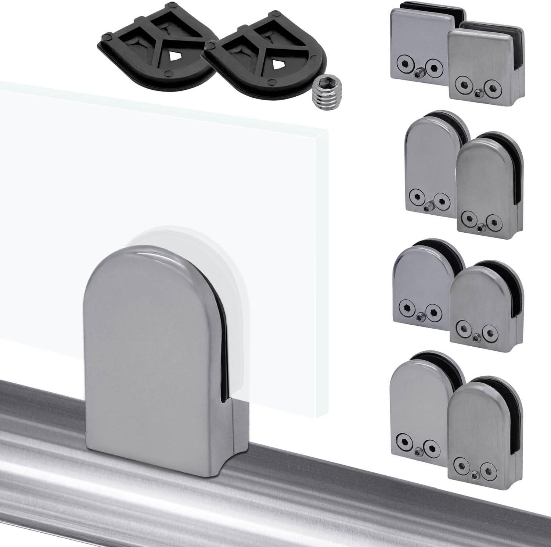 12mm Edelstahl Glas-Halter Rohr-Anschluss Glas-Klemme Klemmhalter Befestigung Gel/änder Bad Dusche Matt Gl/änzend 12mm 50 Stk. Variante:Mod5 glanz