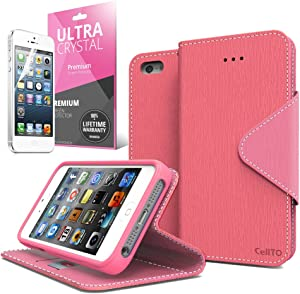 [ iPhone 5C Case] Cellto iPhone 5C Case Wallet Flip Type with HD Screen Protector [Slim Fit] [Hot Pink] Diary Cover/w ID Slot with Premium PU Leather and TPU Dual Layer - EPI Style