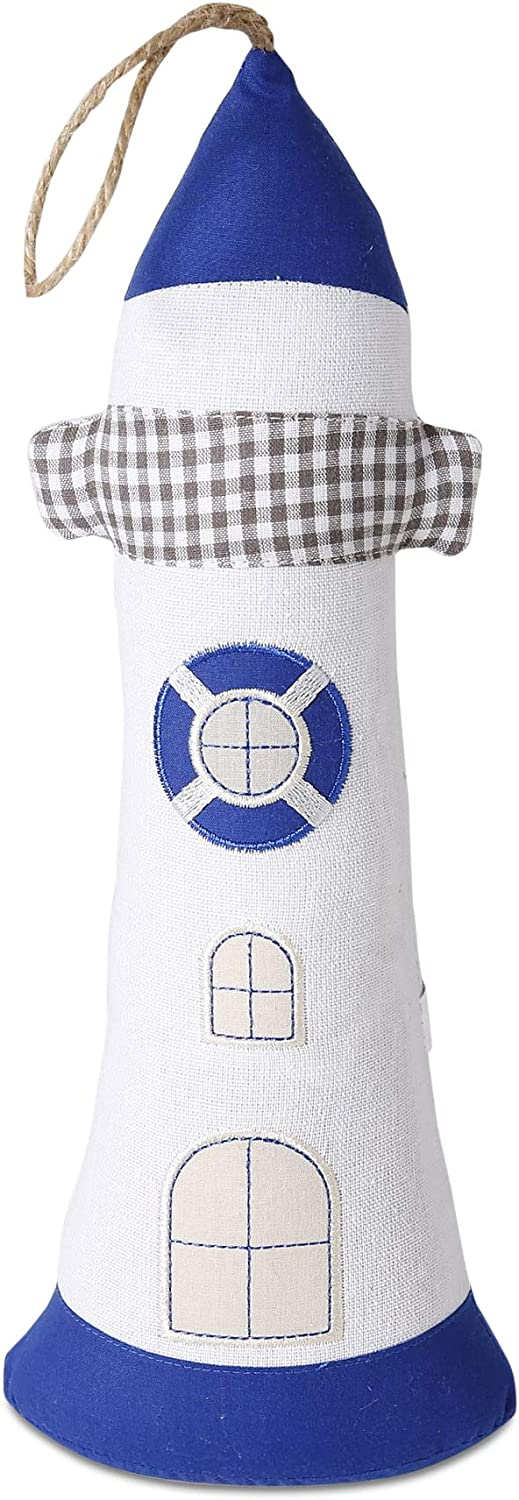 Coastal Light House Door Stopper, Weighted Pillow Style, Sand Filling, 2.2 Pounds, Nautical Blue, Grey and White Fabric, Porthole Details, 13.75 H Inches