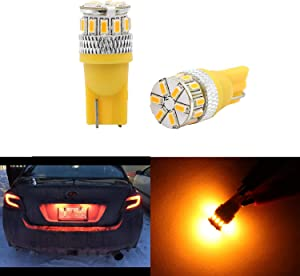 Super Bright T10 LED Bulbs 194 168 2825 175 192 W5W Wedge Dome Lights 3014 Chipset 18 SMD Amber Light Lamp For Car Interior Map License Plate Trunk Parking Light Yellow 2pcs