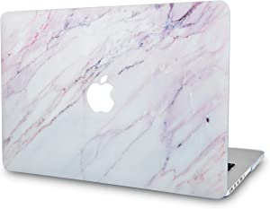 LuvCaseLaptopCaseforMacBookAir 13 Inch A1466 / A1369 (No Touch ID)RubberizedPlasticHardShellCover (Pink White Marble)