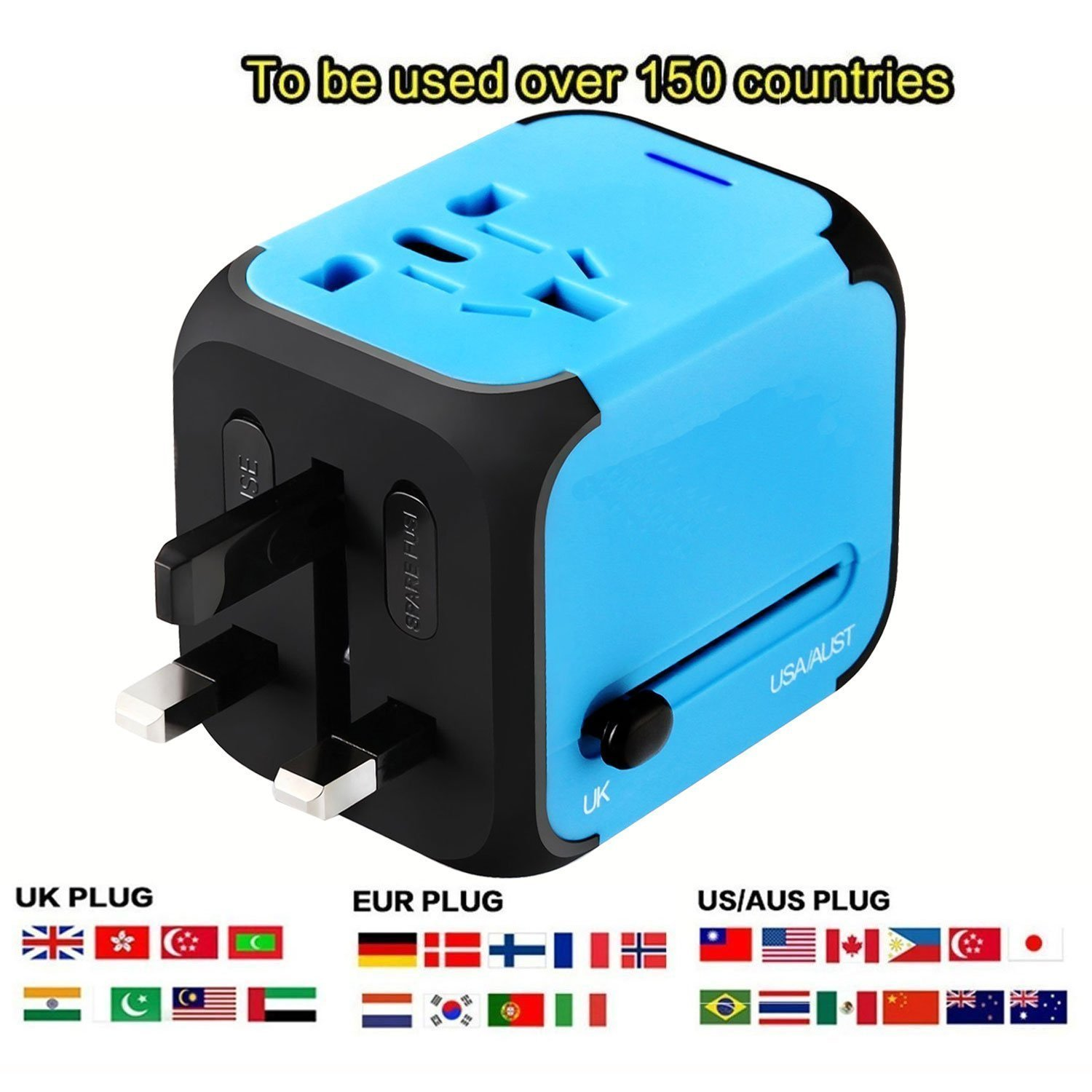 Universal Travel Adapter, International Power Adapter with 2.4A Dual USB Ports Worldwide AC Wall Outlet for Europe, UK, AU, Asia & US(Blue)