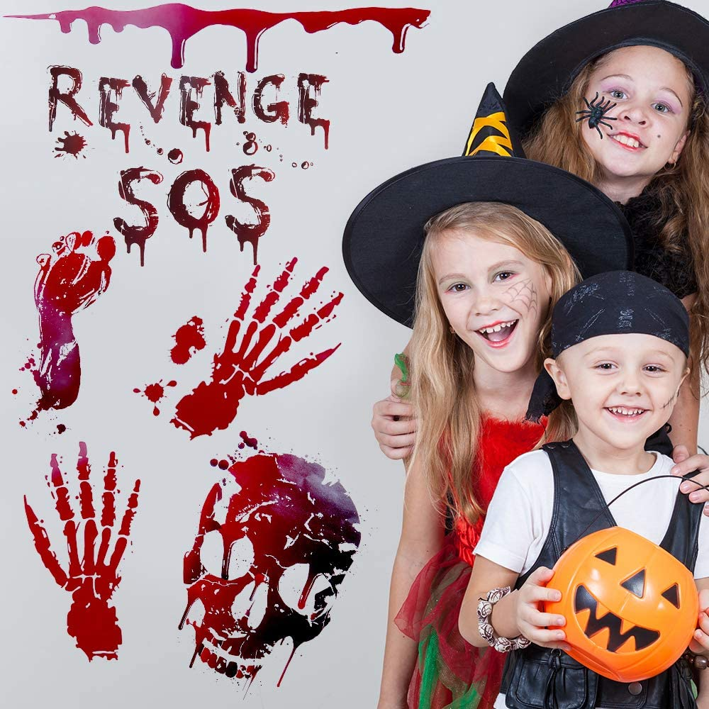 Halloween Bloody Handprint Halloween Window Decoration Bloody Handprint Footprint Halloween Party Decoration Halloween Window Clings 112PCS