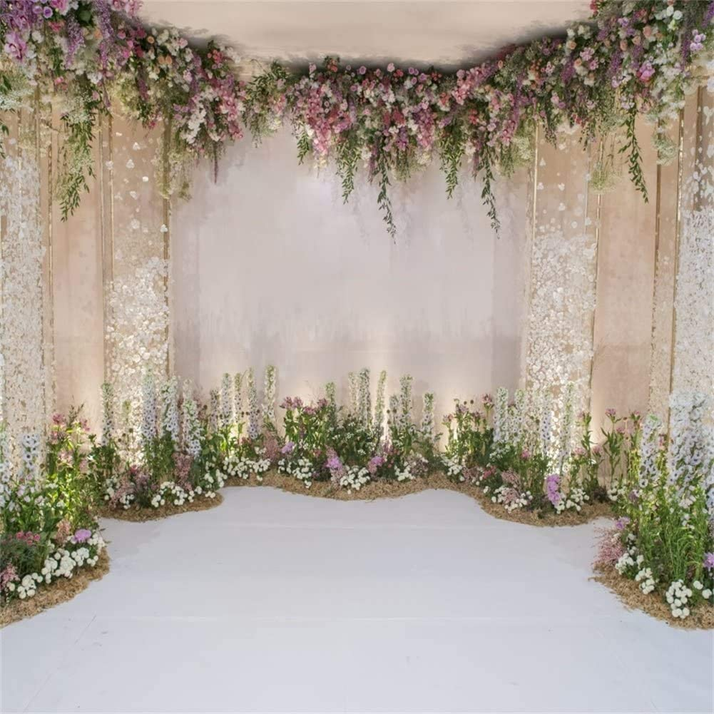 GoEoo 8x8ft Wedding Backdrops for Photography Fairy Tale Beautiful Retro Princess Palace Flowers Garland Arch Door Wonderland Background Kids Girls Photo Studio Props