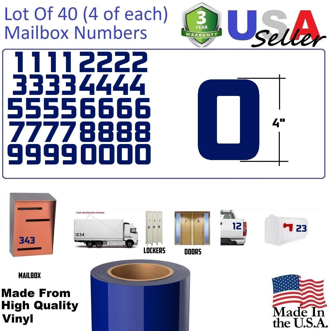 4'' Blue Color Custom Mailbox Numbers - Lot of 40(4 of each number form 0 to 9) 4 inch tall, Blue Modern Vinyl Mailbox Numbers,Doors,Tool Box,Locker,Car,Truck,Address Decal Stickers (Konkretika Bold)