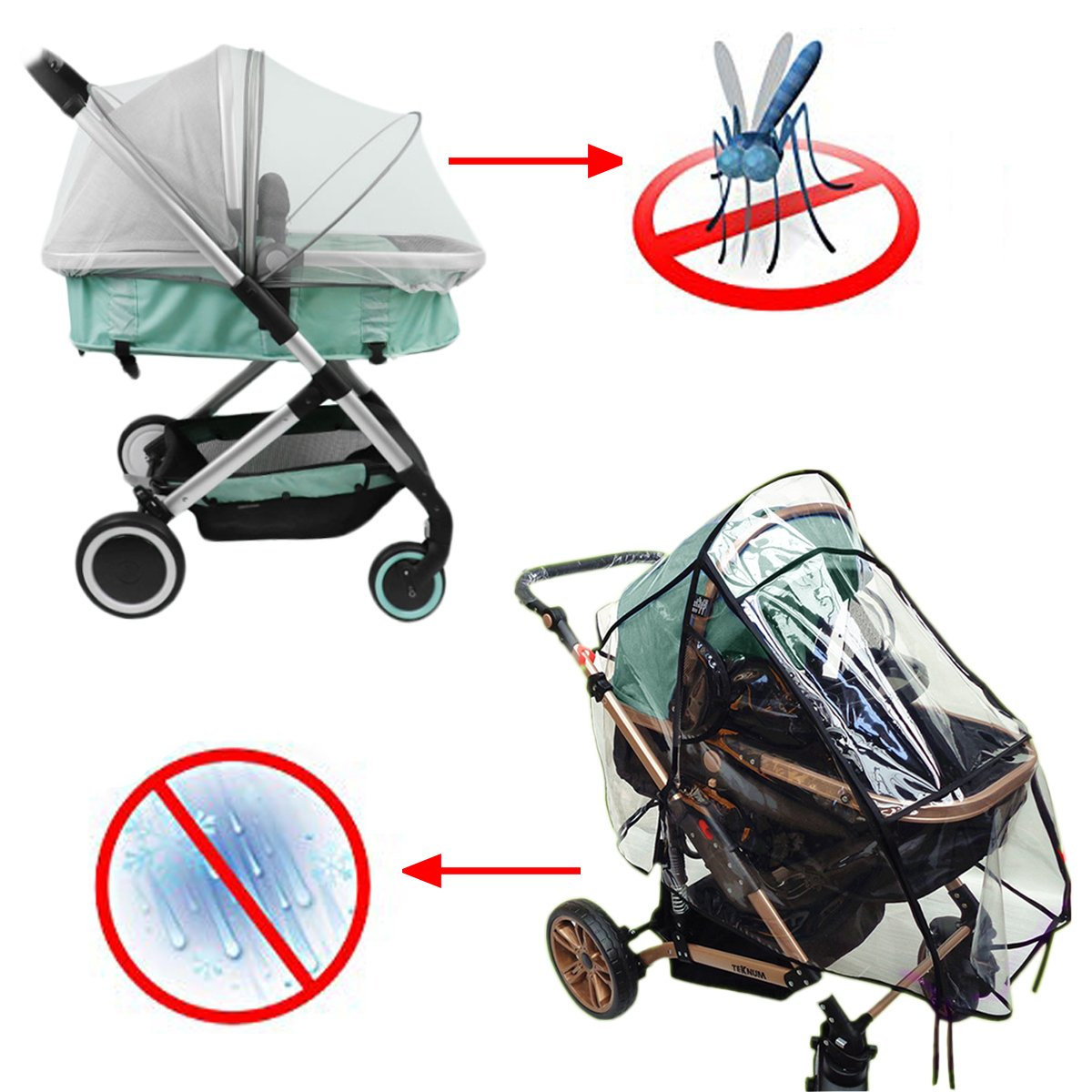Stroller Rain Cover and Mosquito Net 2-Piece Set Baby Stroller Weather Shield Windproof Waterproof Universal Portable Durable Insect Shield Netting