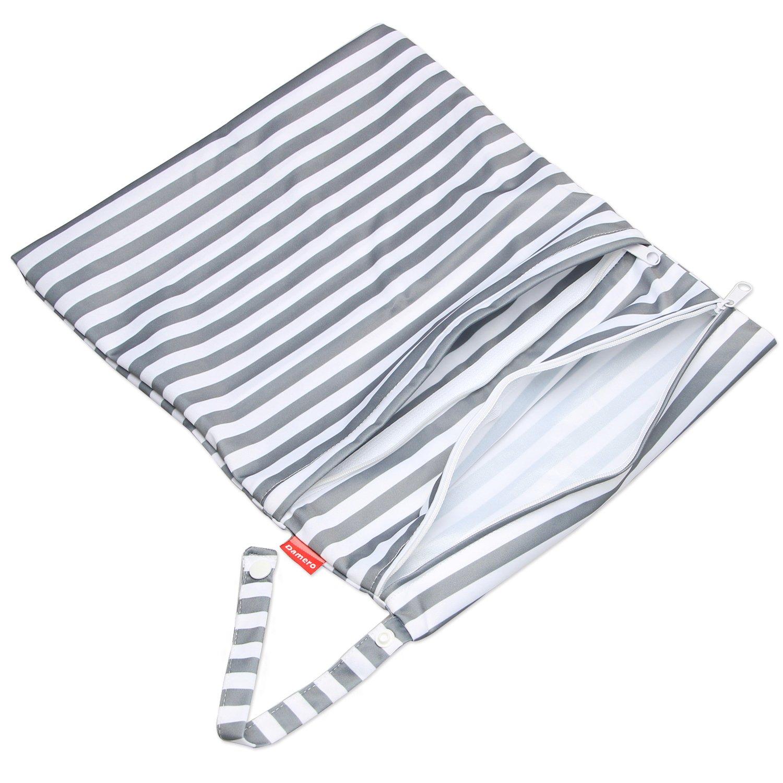 Damero 3 St/ück//Set Windeltasche mit wiederverwendbarem Stoff Wetbag Feuchtt/ücher Organiser Beutel Graue Streifen