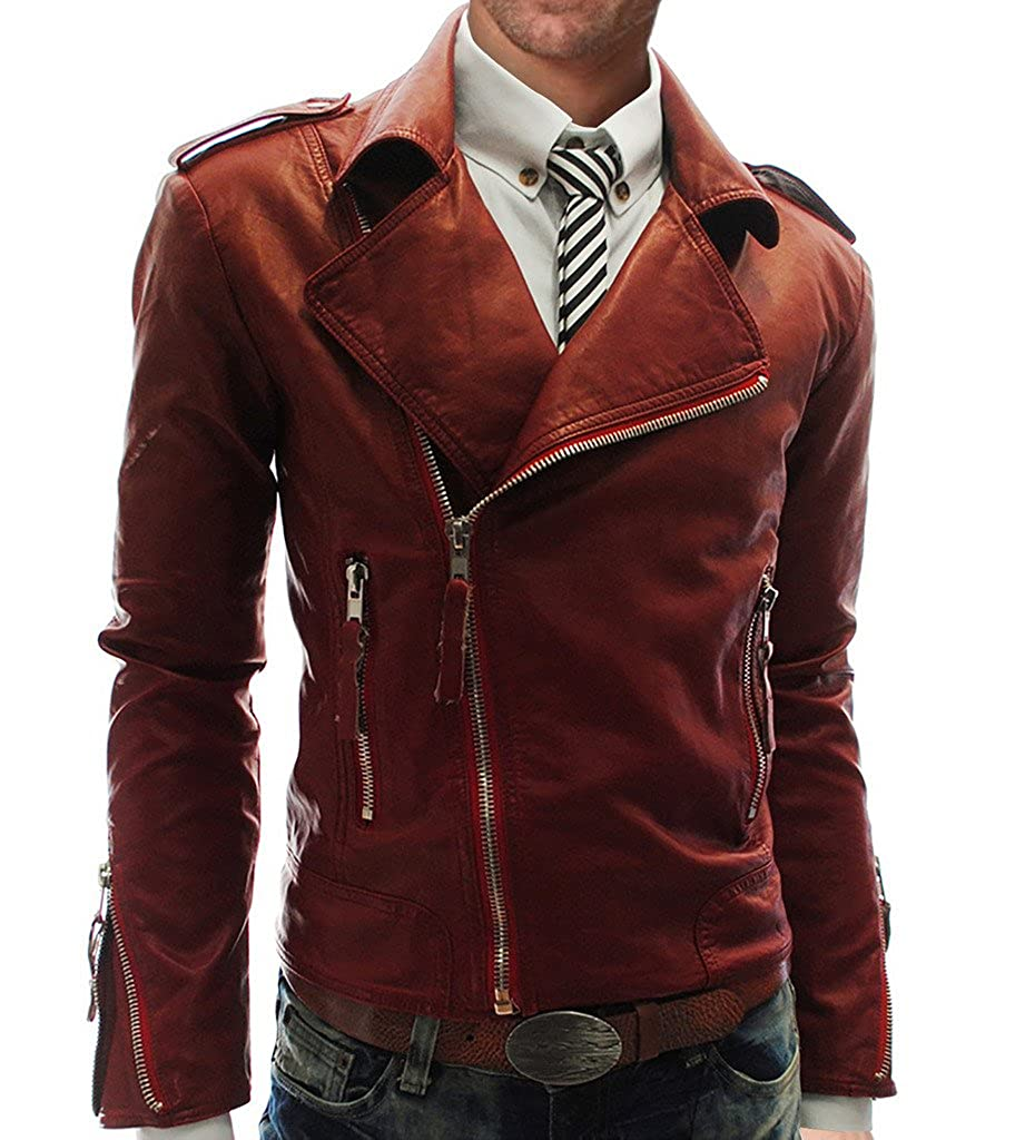 WSLCN Mens Fit Punk Zip Motorcycle Jacket Zip Up Faux Leather AW-5868
