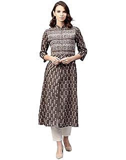 94bd5767ab Jaipur Kurti Women Indian Casual Tunic Top Block Print Straight Brown Kurta