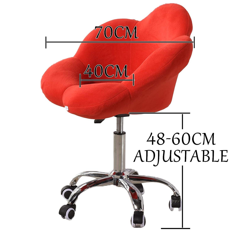 LYJBD sammet hem kontor stol justerbar svängbar rullande bekväm armlös skrivbordsstol ergonomisk svängbar stol förbättra hållningen nu och nacksmärta Röd