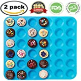 Premium Silicone Mini Muffin & Cupcake Baking Pan Large Non Stick 24 Cup Cookies Molds Bakeware Tin Soap Tray Mould by Meiso (Set of 2) (Blue)