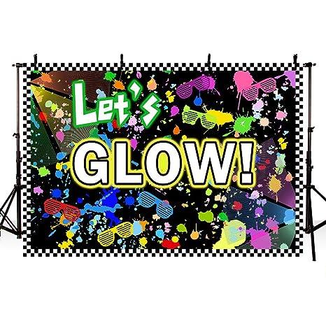 MEHOFOTO - Fondo de cumpleaños para Adultos, diseño con Texto en inglés Lets Glow, 17,7 x 152 cm