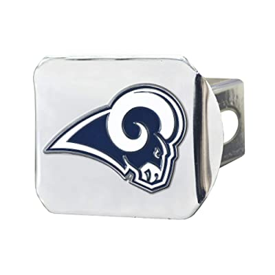 "FANMATS NFL Los Angeles Rams Metal Hitch Cover, Chrome, 2"" Square Type III Hitch Cover: Automotive"