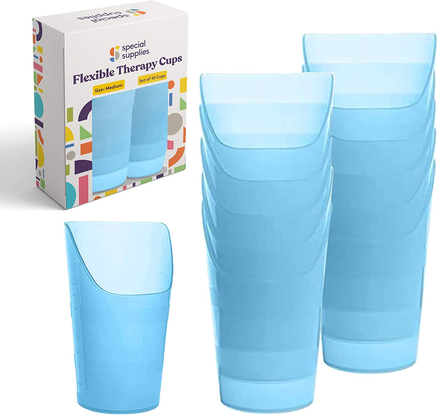 Special Supplies Pack of 10 Medium Flexible Drinking Cups with Nose Mold Cutout for Physical Therapy, Recovery, and Rehabilitation, BPA-Free Drink Tumblers, 7 oz.