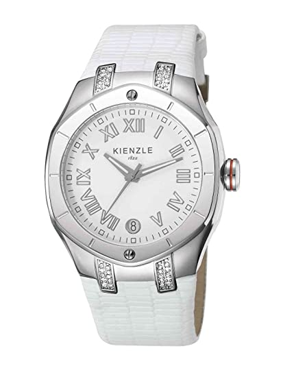Kienzle KIENZLE K5022012021 - Reloj analógico de cuarzo para mujer, correa de cuero color blanco