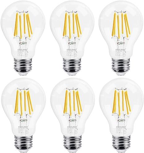 Glass 2700K DiCUNO 6W60W Base A19A60 E26 Edison White Clear Filament LumensMedium Vintage Halogen EquivalentWarm 700 LED Bulb Dimmable Antique ikXOPZu