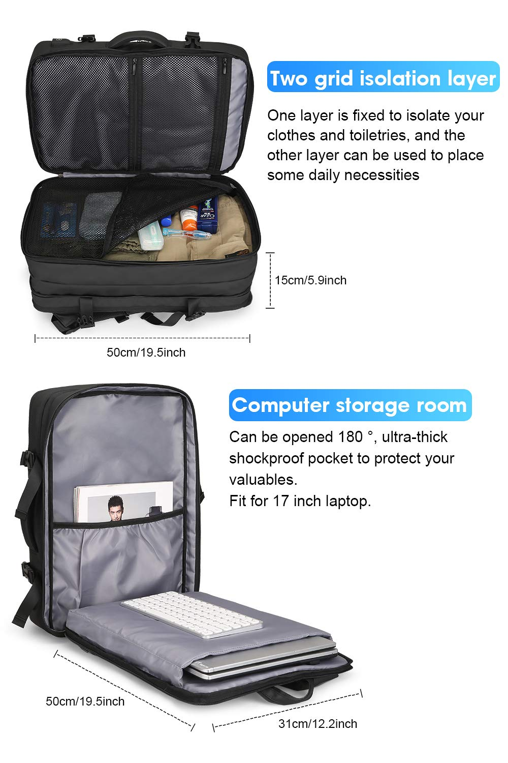 MARK RYDEN 23L/40L Business Carry-on Travel Backpack, Lightweight Flight-Approved Expandable Weekender Bag with USB Charging Port fit 17.3 Laptop by MARK RYDEN (Image #4)