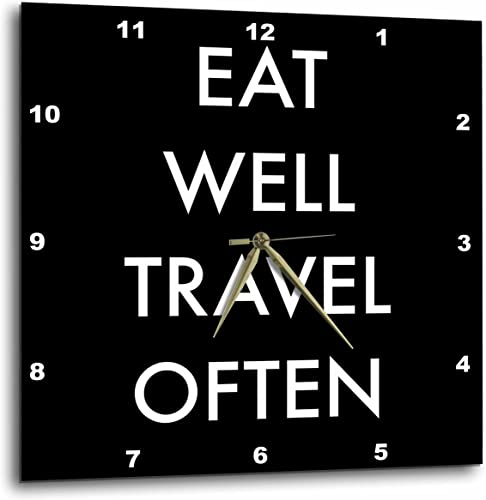 3dRose DPP_220134_1 Eat Well Travel Often, White Letters on a Black Background Wall Clock, 10 by 10
