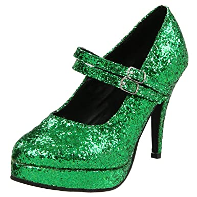 104f66a50ec1 Womens St Patrick Shoes Mary Jane Pumps 4 Inch Heels Sparkle Green Glitter  Shoe Size: