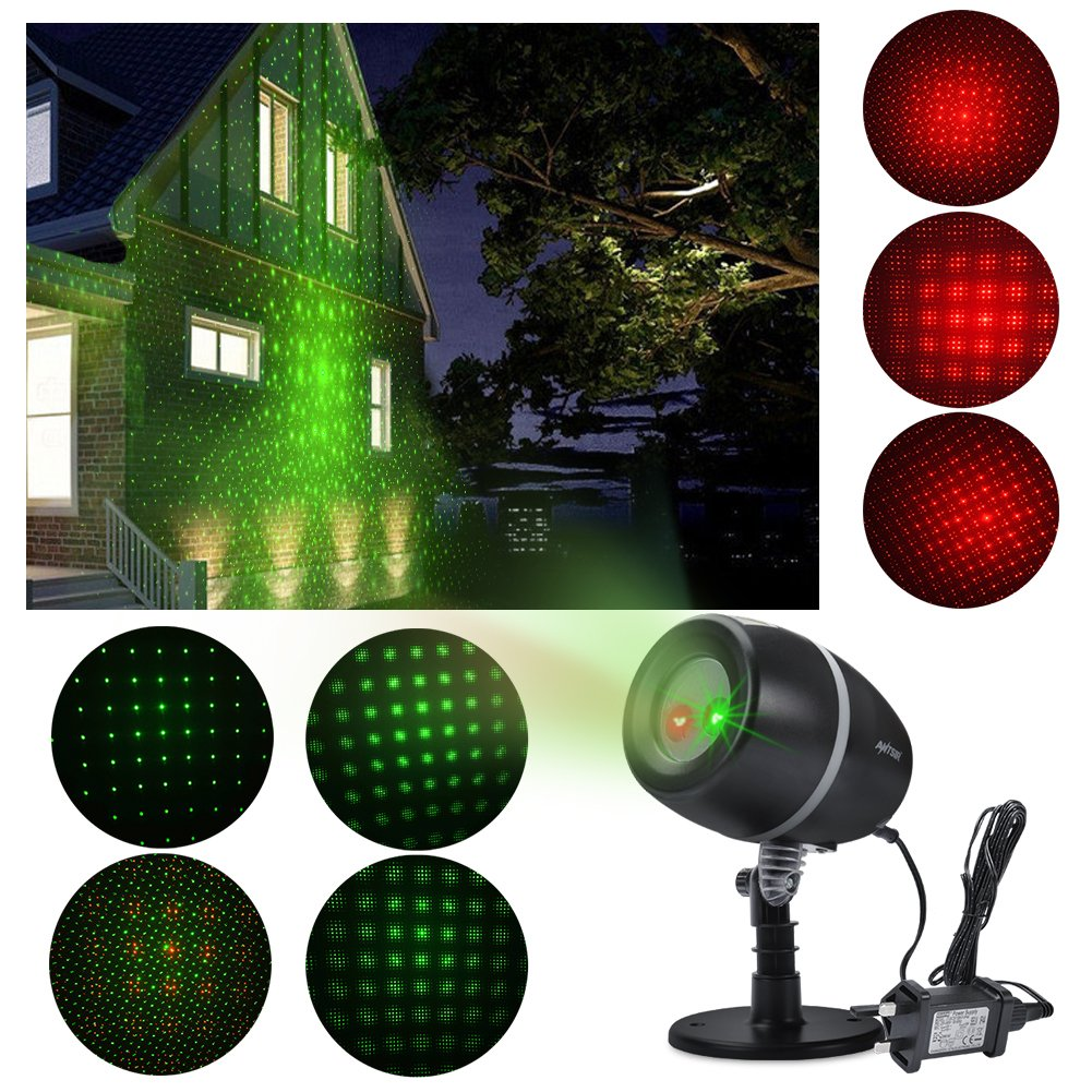 ANTSIR Stage Waterproof SpotLights Starry Projector Light with Red & Green for Outdoor&Indoor Garden Yard Wall Family Party KTV Wedding Night Club