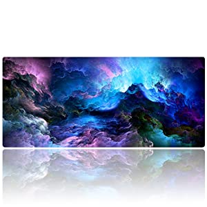 "AliBli Large Gaming Mouse Pad XXL Extended Mat Desk Pad Mousepad Long Non-Slip Rubber Mice Pads Stitched Edges 35.4""x15.7"" (014qicaiyun)"