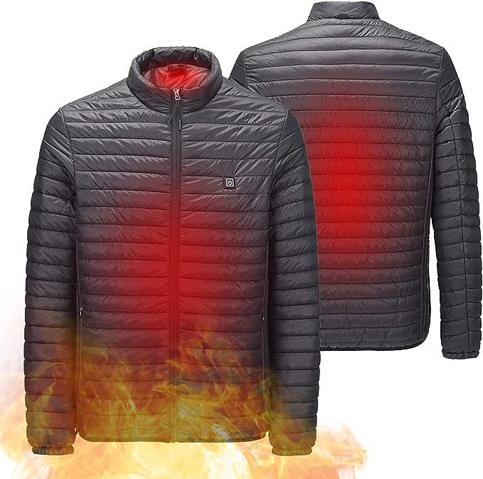 DEWBU Beheizte Jacke mit 7.4V Akku Winter Soft Shell Outdoor Elektrische Heizjacke Beheizbar Jacke