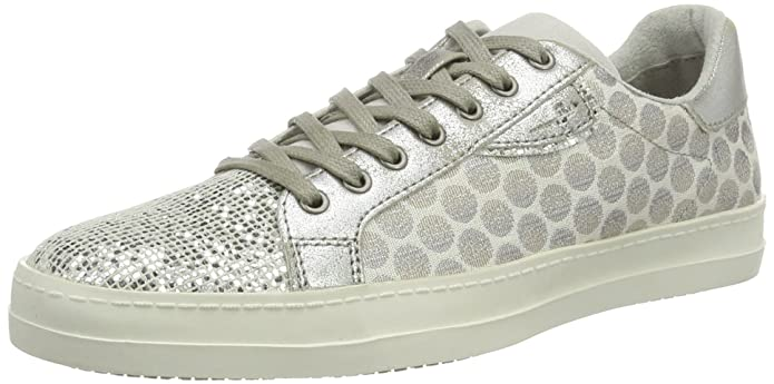 Womens 23666 Low-Top Sneakers, Silber (WHT/Silv. Dots 114), 3 UK Tamaris
