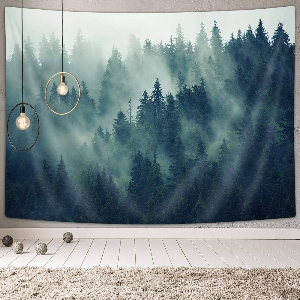 NYMB Misty Forest Tapestry Wall Hanging, Mountain Tapestries Nature Home Wall Decor for Bedroom Living room, Room Decor Landscape with Fir Forest in Hipster Vintage Retro Style, Grey