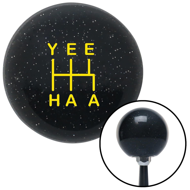 Yellow YeeHaa 5 Speed Black Metal Flake American Shifter 301917 Shift Knob