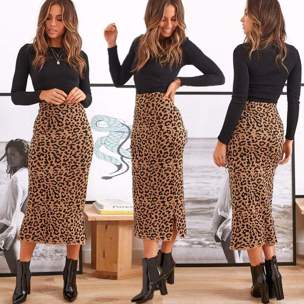 QIjinlok Falda Leopardo Mujer Midi Faldas Bodycon Plisadas con ...